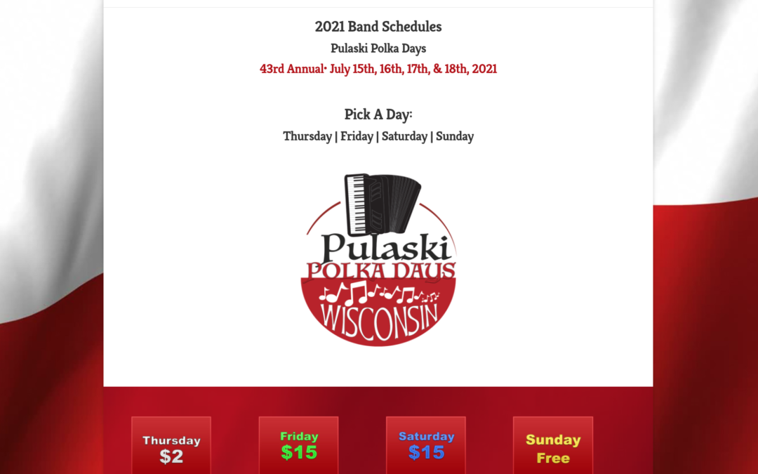 2021 Pulaski Polka Day's Band Schedules are set.